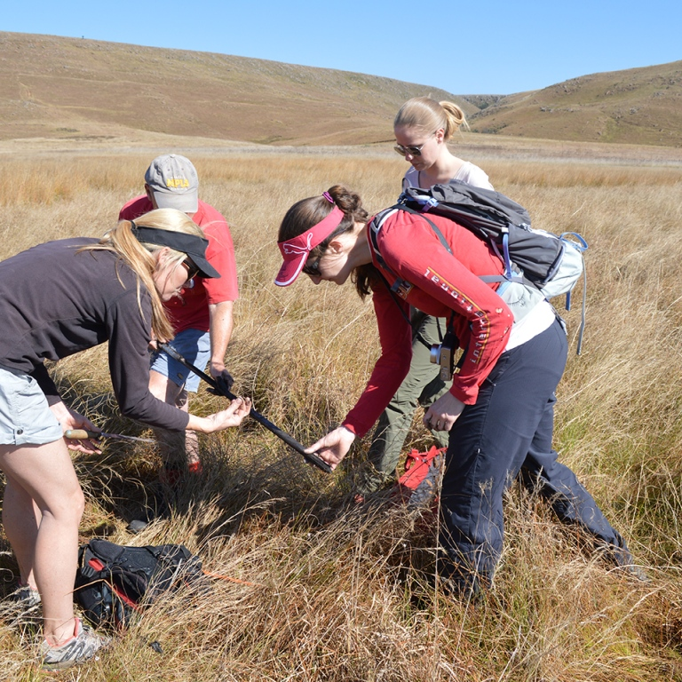 4 researchers doing field work in south africa