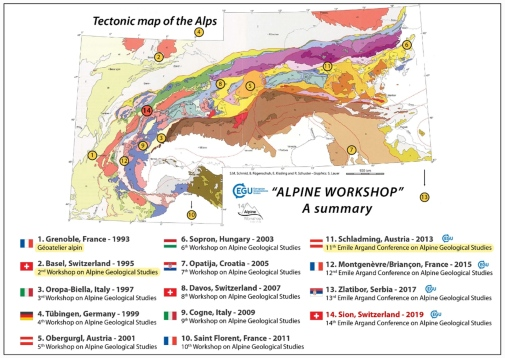 Schematic tectonic map of the Alps