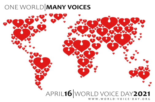 World map filled with hearts, stylized to represent the glottis.