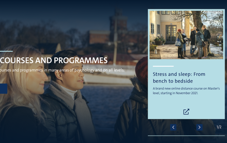 Our courses and programmes, from the Start page