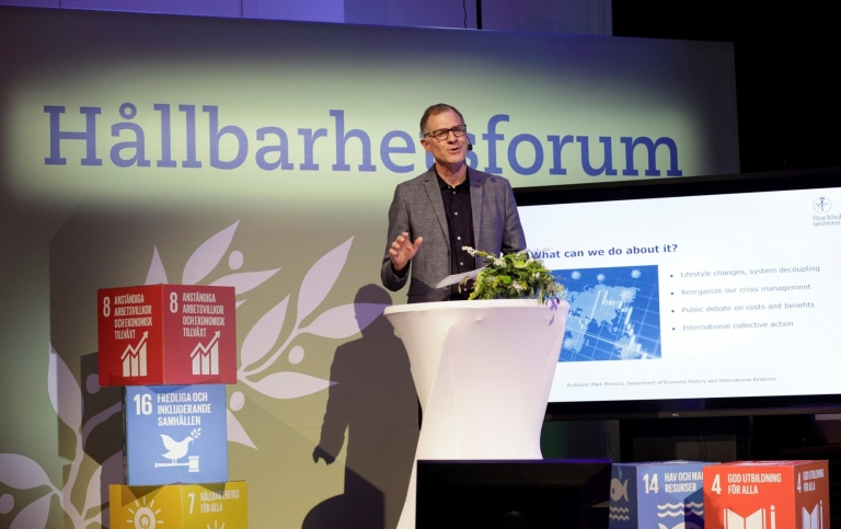 Researcher Mark Rhinard at Stockholm University Sustainability Forum 2021. Foto: Jens Lasthein