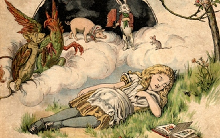 "The cover illustration, by E. Gertrude Thomson, of The Nursery ""Alice"" by Lewis Carroll"