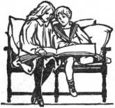 A black and white illustration of a mother and son reading a book on a chair. J. R. Skelton
