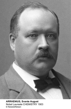Svante Arrhenius received the 1903 Nobel Prize in Chemistry